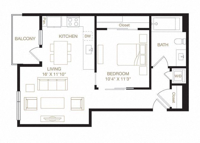 Prescott floor plan diagram. One bedroom, one bathroom, a kitchen and living  area, a balcony, and a washer dryer.
