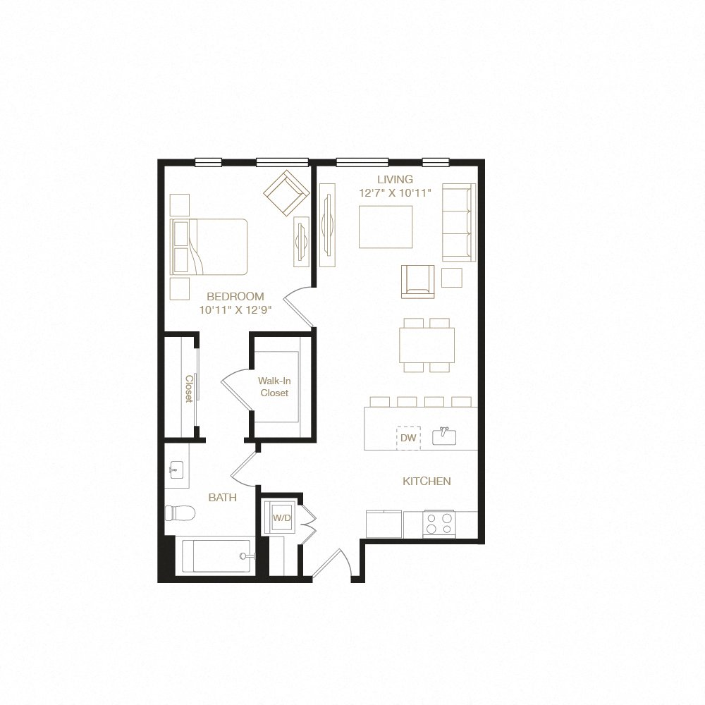 Temescal floor plan diagram. One bedroom, one bathroom, a kitchen and living  area, and a washer dryer.