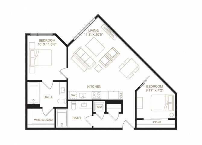 Piedmont floor plan diagram. Two bedrooms, two bathrooms, a kitchen and living  area, and a washer dryer.