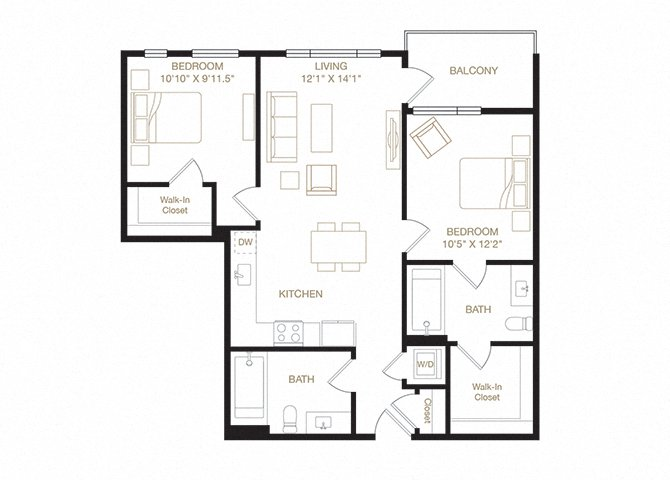 Fruitvale floor plan diagram. Two bedrooms, two bathrooms, a kitchen and living  area, a balcony, and a washer dryer.