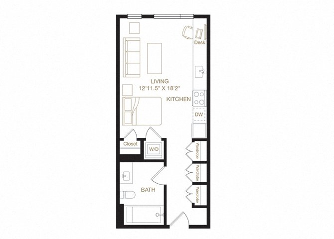 Rockridge floor plan diagram. Studio apartment with a kitchen, living  area, bathroom, and washer dryer.
