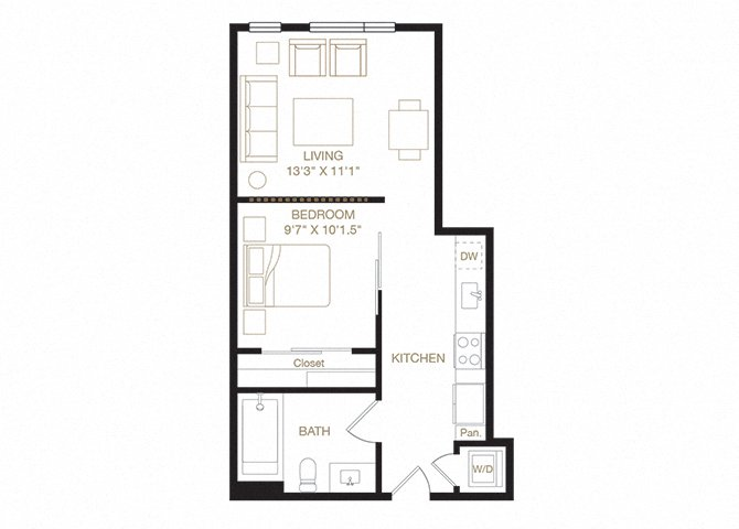 Downtown floor plan diagram. One bedroom, one bathroom, a kitchen, a living  area, and a washer dryer.