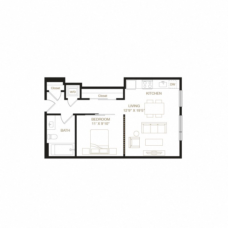 Dimond floor plan diagram. One bedroom, one bathroom, a kitchen and living  area, and a washer dryer.