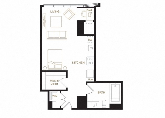 Mosswood floor plan diagram. Studio apartment with a kitchen, living  area, bathroom, and washer dryer.