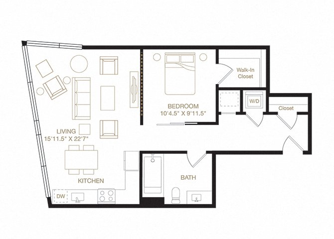 Shoreline floor plan diagram. One bedroom, one bathroom, a kitchen and living  area, and a washer dryer.