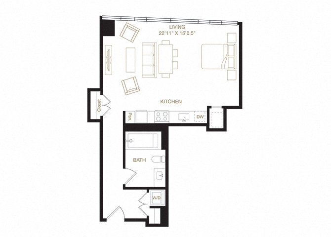 Sibley floor plan diagram. Studio apartment with a kitchen, living  area, bathroom, and washer dryer.