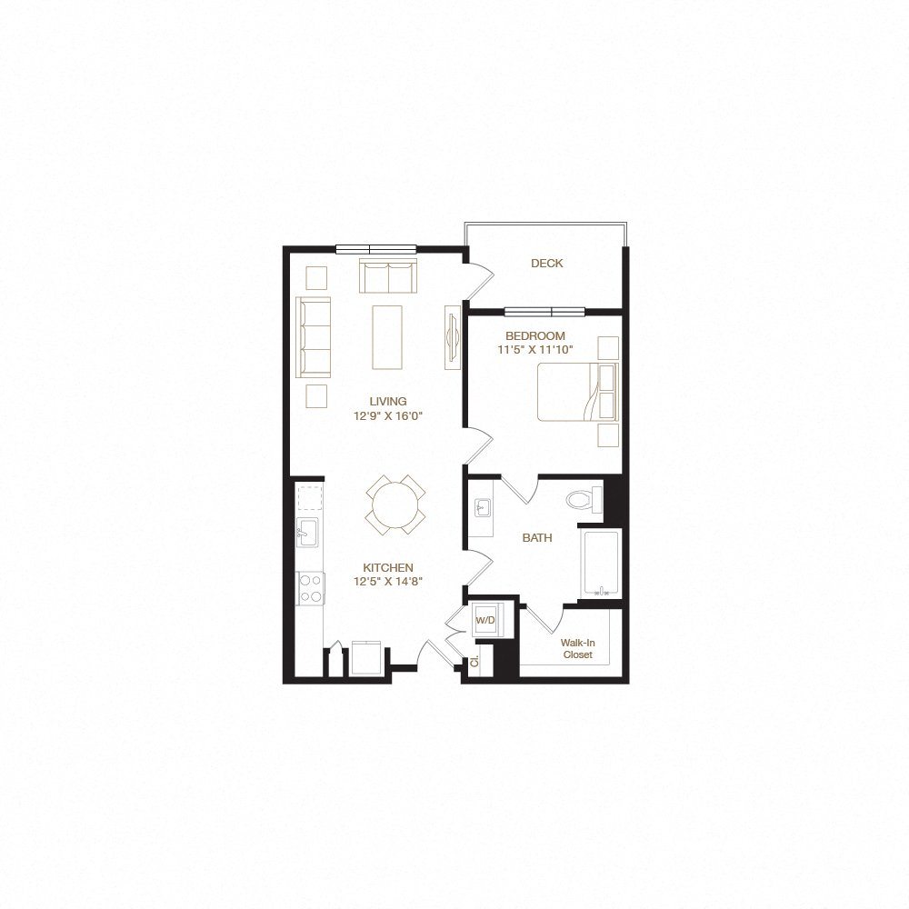 Mission floor plan diagram. One bedroom, one bathroom, an open kitchen and living area, a washer dryer, and a deck.