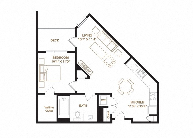 Edwards floor plan diagram. One bedroom, one bathroom, an open kitchen and living area, a washer dryer, and a deck.