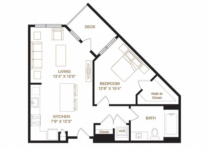 Quarry floor plan diagram with one bedroom, one bathroom, an open kitchen and living area, a washer dryer, and a deck.