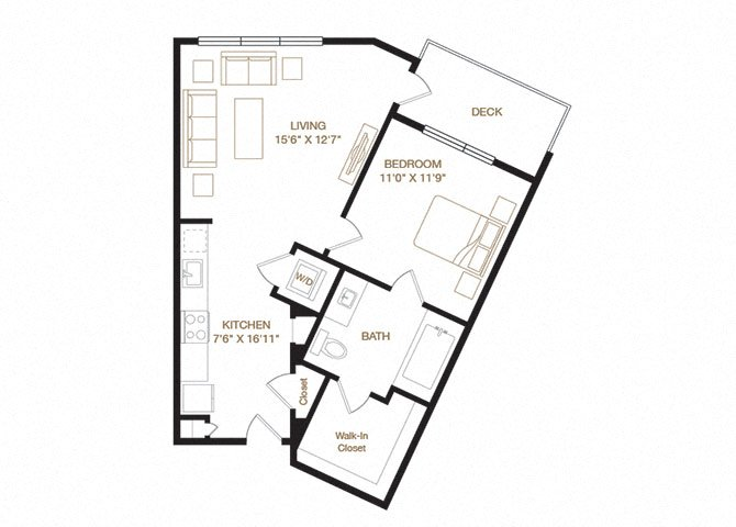 Niles floor plan diagram. One bedroom, one bathroom, an open kitchen and living area, a washer dryer, and a deck.