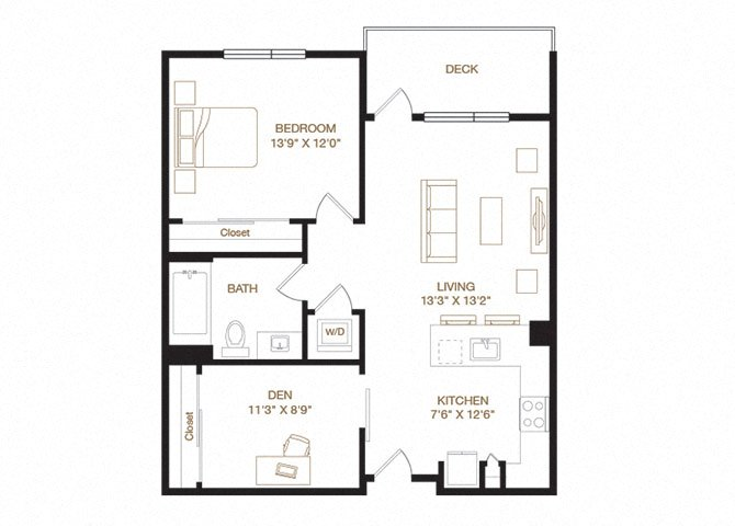 Parkmont floor plan diagram with one bedroom, one bathroom, a den, an open kitchen and living area, a washer dryer, and a deck.