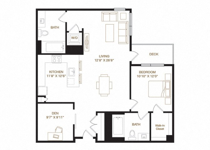 Sundale floor plan diagram. One bedroom, two bathrooms, a den, an open kitchen and living area, a washer dryer, and a deck.