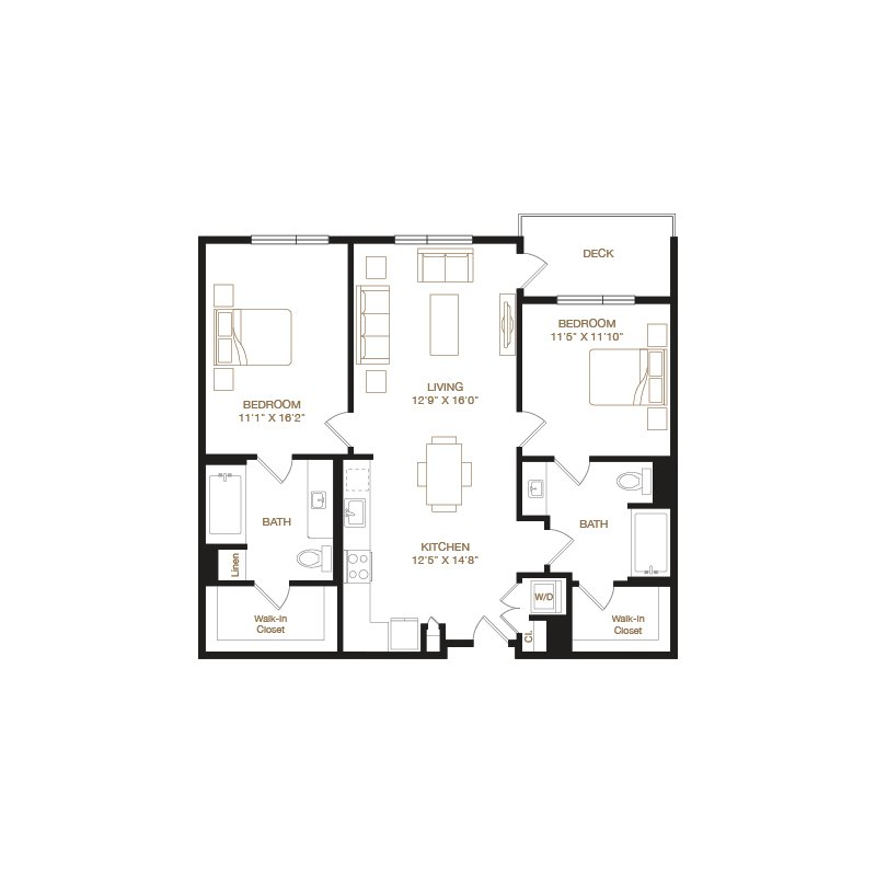 Cherry floor plan diagram with two bedrooms, two bathrooms, an open kitchen and living area, a washer dryer, and a deck.