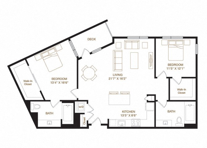 Guardino floor plan diagram with two bedrooms, two bathrooms, an open kitchen and living area, a washer dryer, and a deck.
