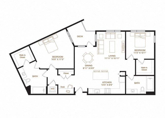 Irvington floor plan diagram with two bedrooms, two bathrooms, an open kitchen and living area, a desk nook, a washer dryer, and a deck.