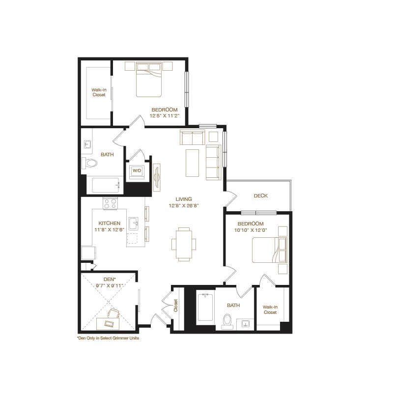 Grimmer floor plan diagram with two bedrooms, two bathrooms, an open kitchen and living area, a washer dryer, a deck, and in some units, a spare den.