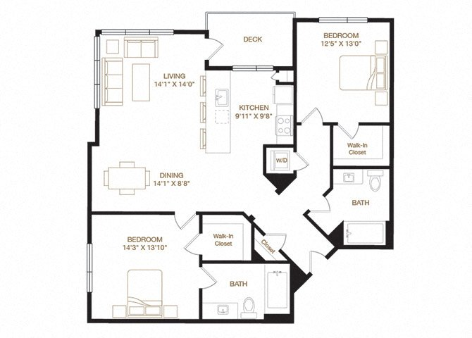 Paseo floor plan diagram with two bedrooms, two bathrooms, an open kitchen and living area, a washer dryer, and a deck.