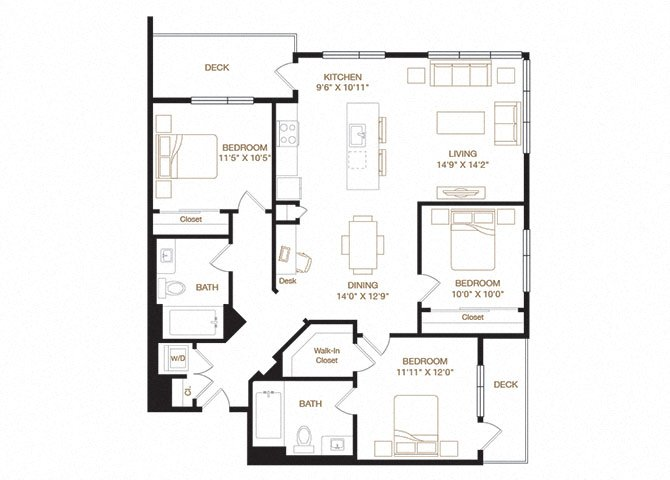 Ardenwood floor plan diagram with three bedrooms, two bathrooms, an open kitchen and living area, two decks, and a washer dryer.