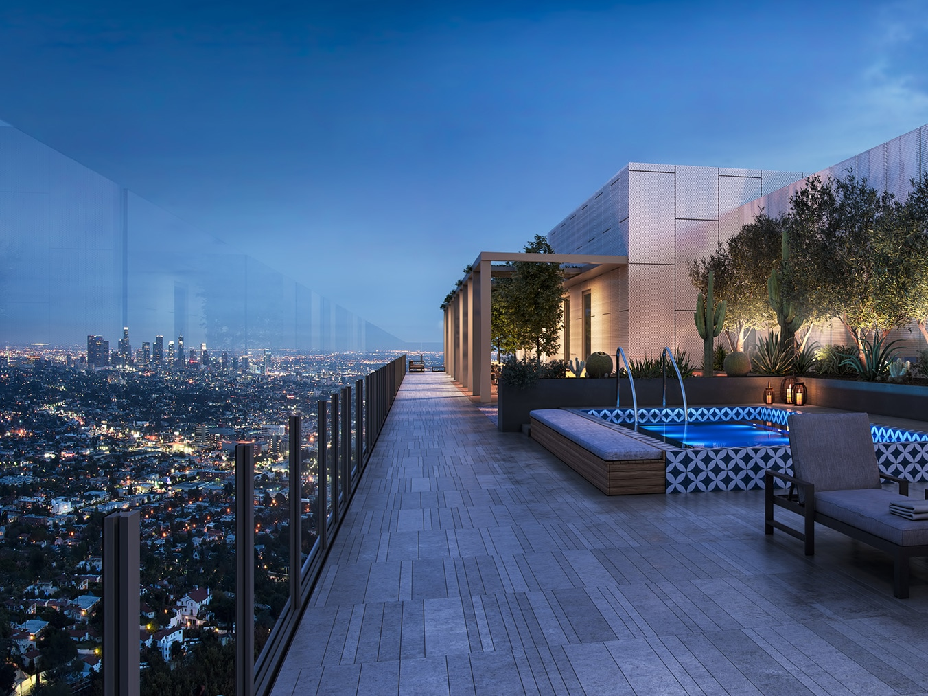 City views from ARQ residential tower in West Los Angeles.