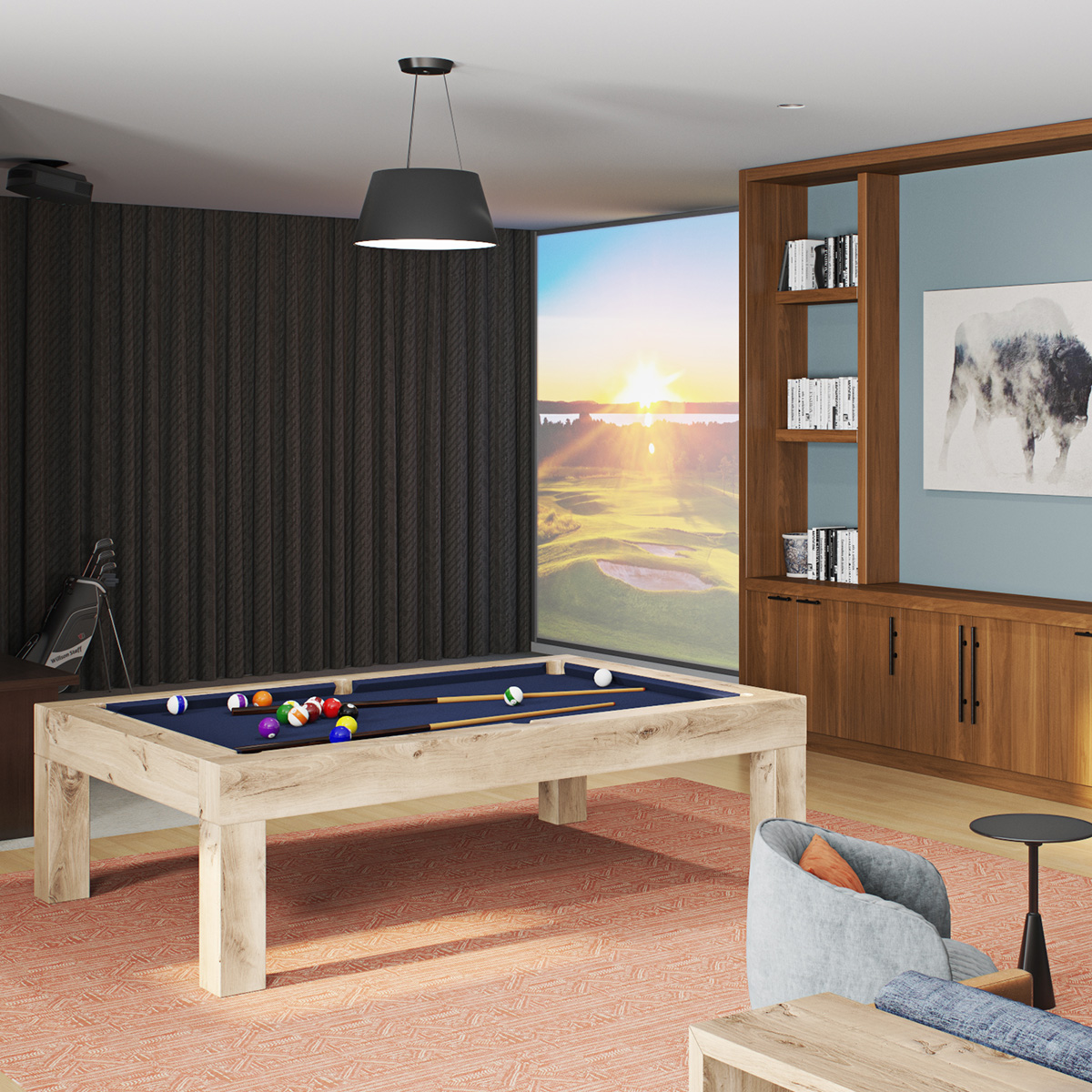 The Palmer Amenities - Golf Simulator and Billiards Table