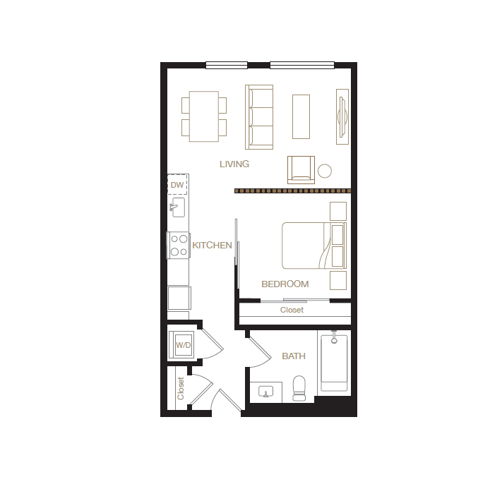 Adams Point floor plan diagram. One bedroom, one bathroom, a kitchen, a living  area, and a washer dryer.