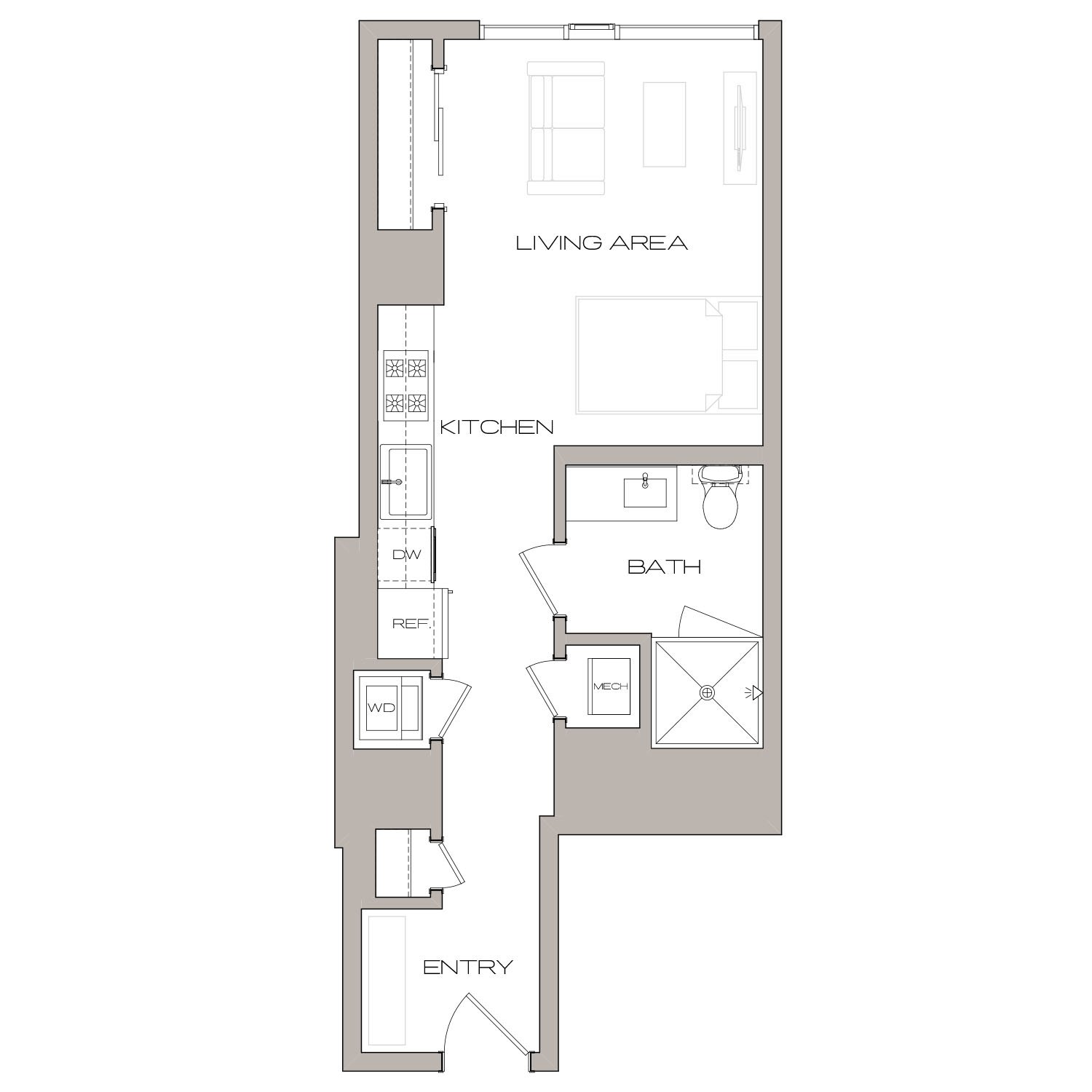 S A floor plan diagram. A studio apartment with one bathroom, an open kitchen and living area, and a washer dryer.