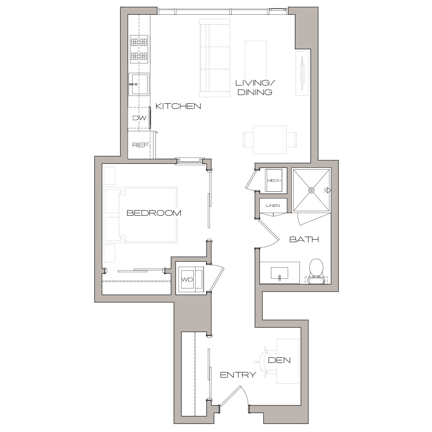 A 1 U floor plan diagram. One bedroom, one bathroom, an open kitchen and living area, a den, and a washer dryer.