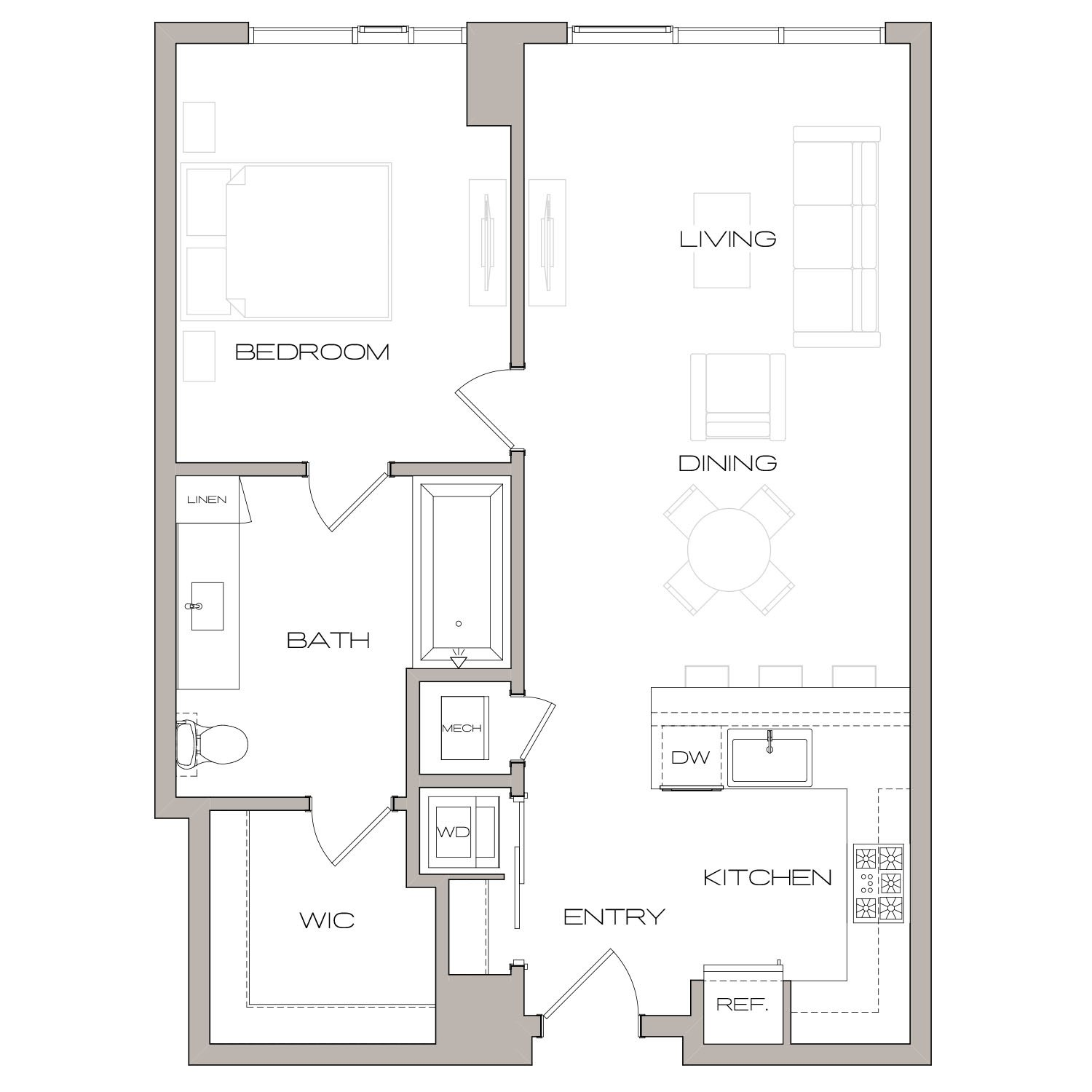 A 2 floor plan diagram. One bedroom, one bathroom, an open kitchen and living area, and a washer dryer.