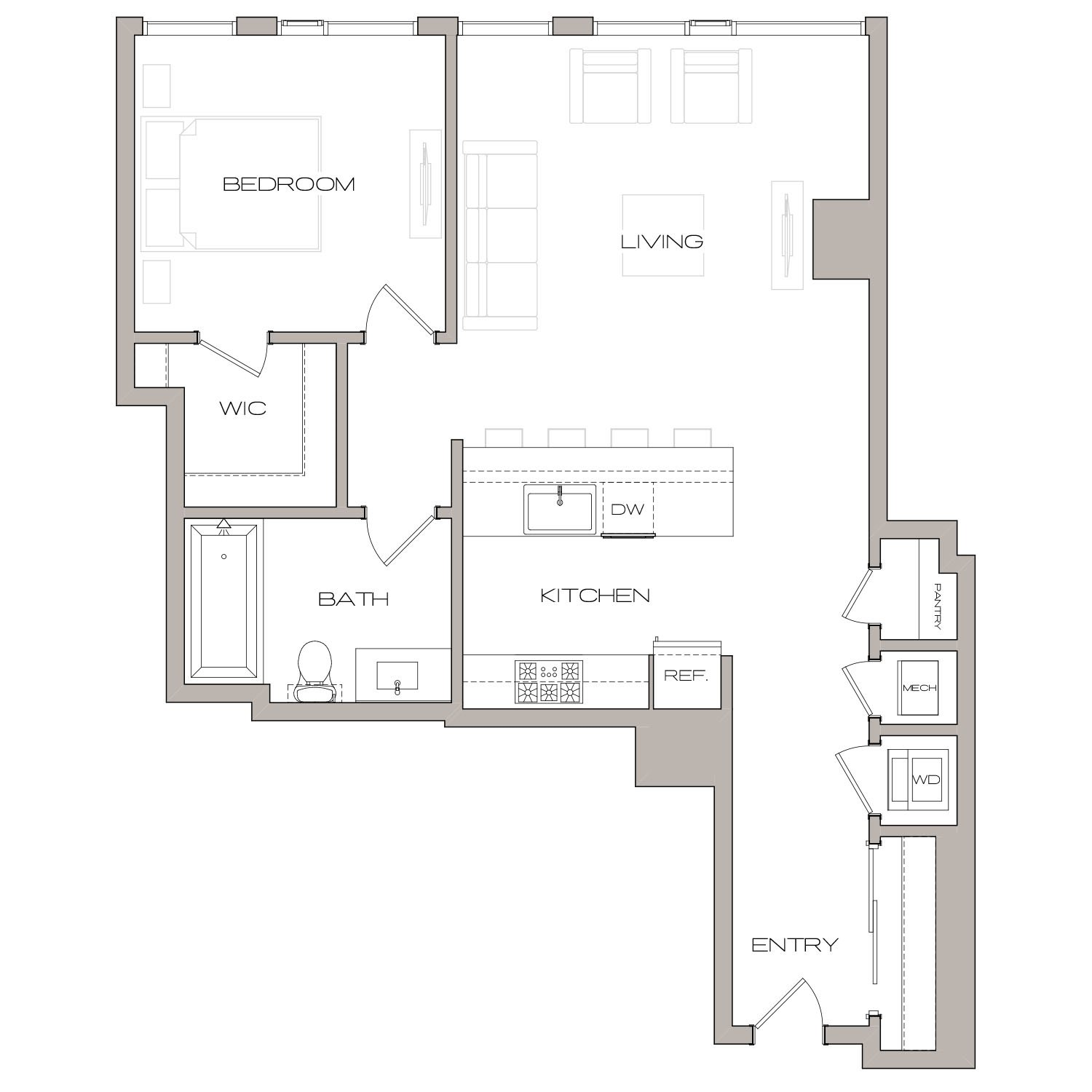 A 3 floor plan diagram. One bedroom, one bathroom, an open kitchen and living area, and a washer dryer.