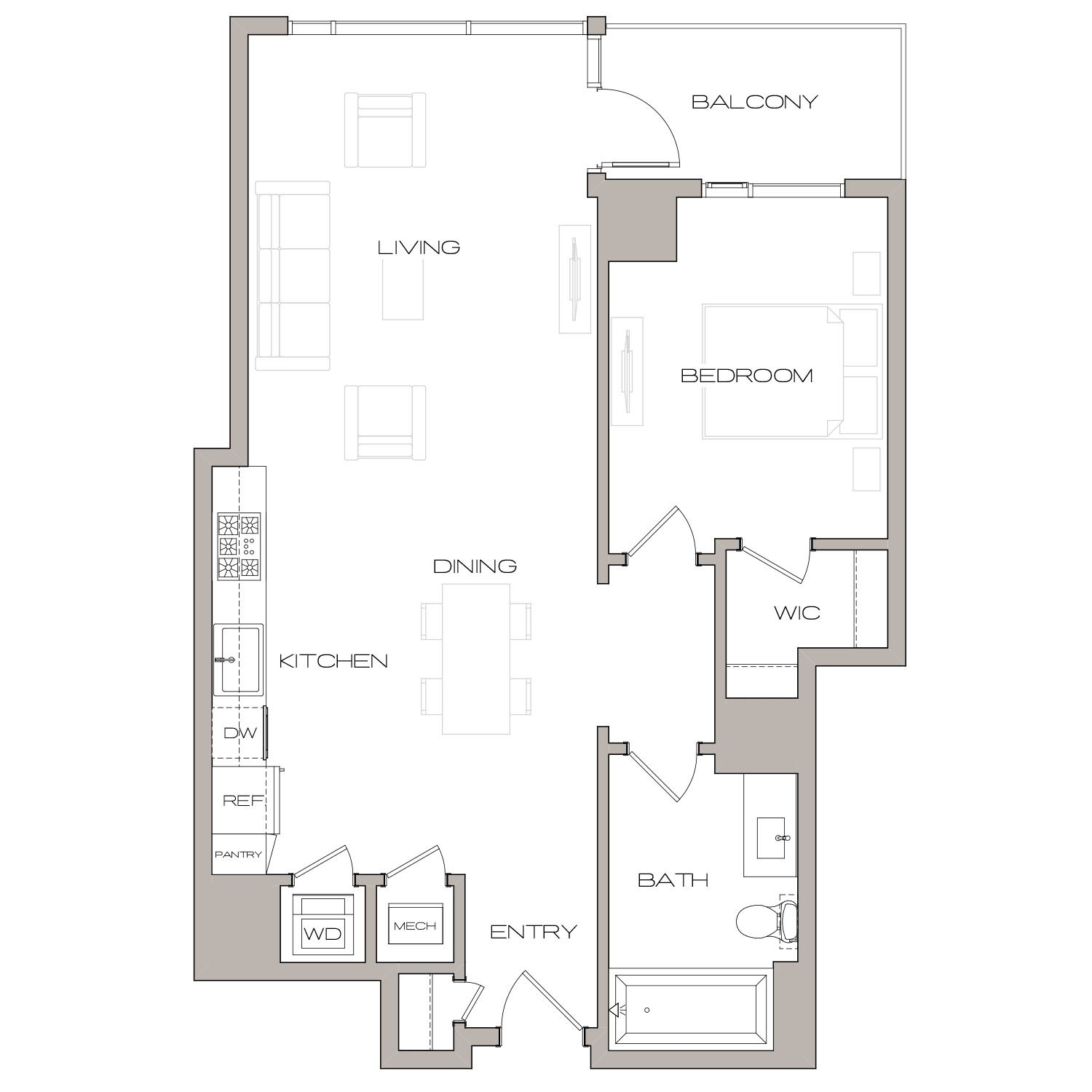 A 4 floor plan diagram. One bedroom, one bathroom, an open kitchen and living area, a balcony, and a washer dryer.