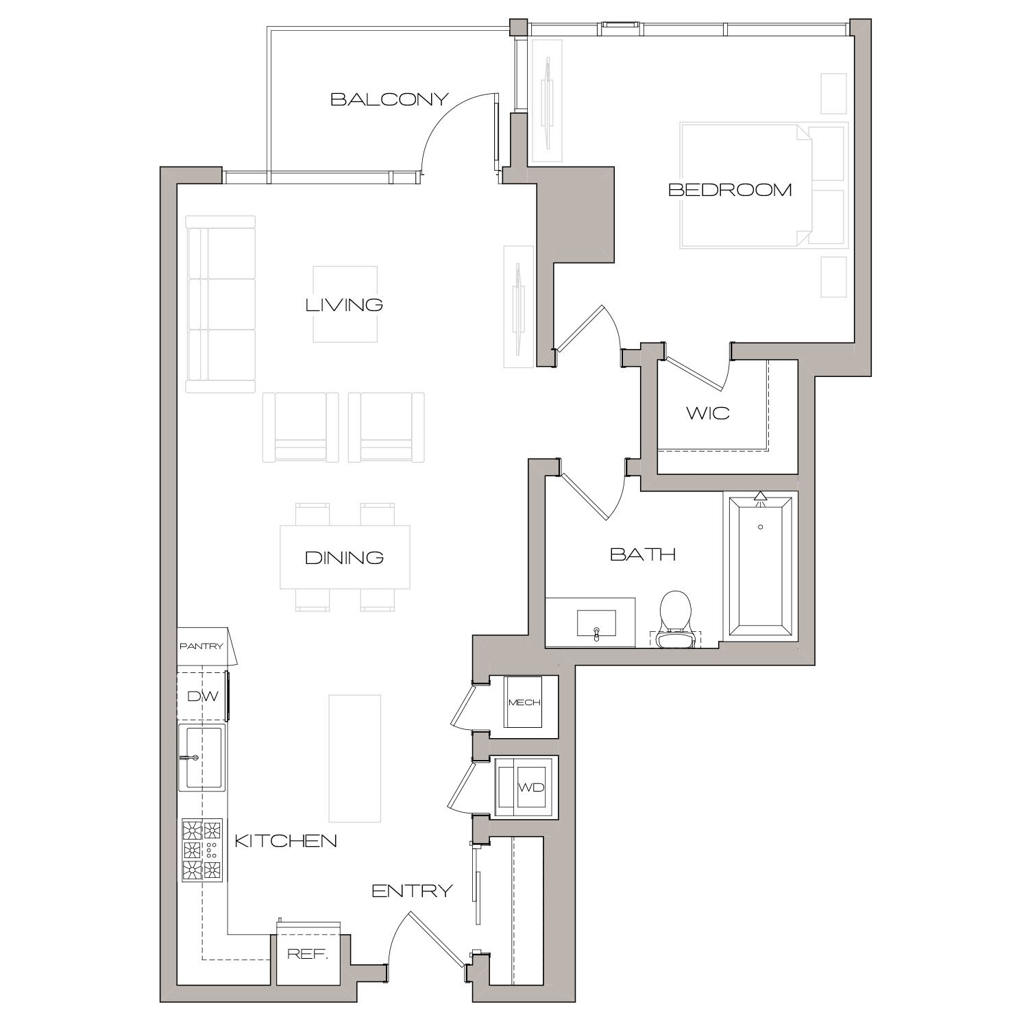 A 4 A floor plan diagram. One bedroom, one bathroom, an open kitchen and living area, a balcony, and a washer dryer.