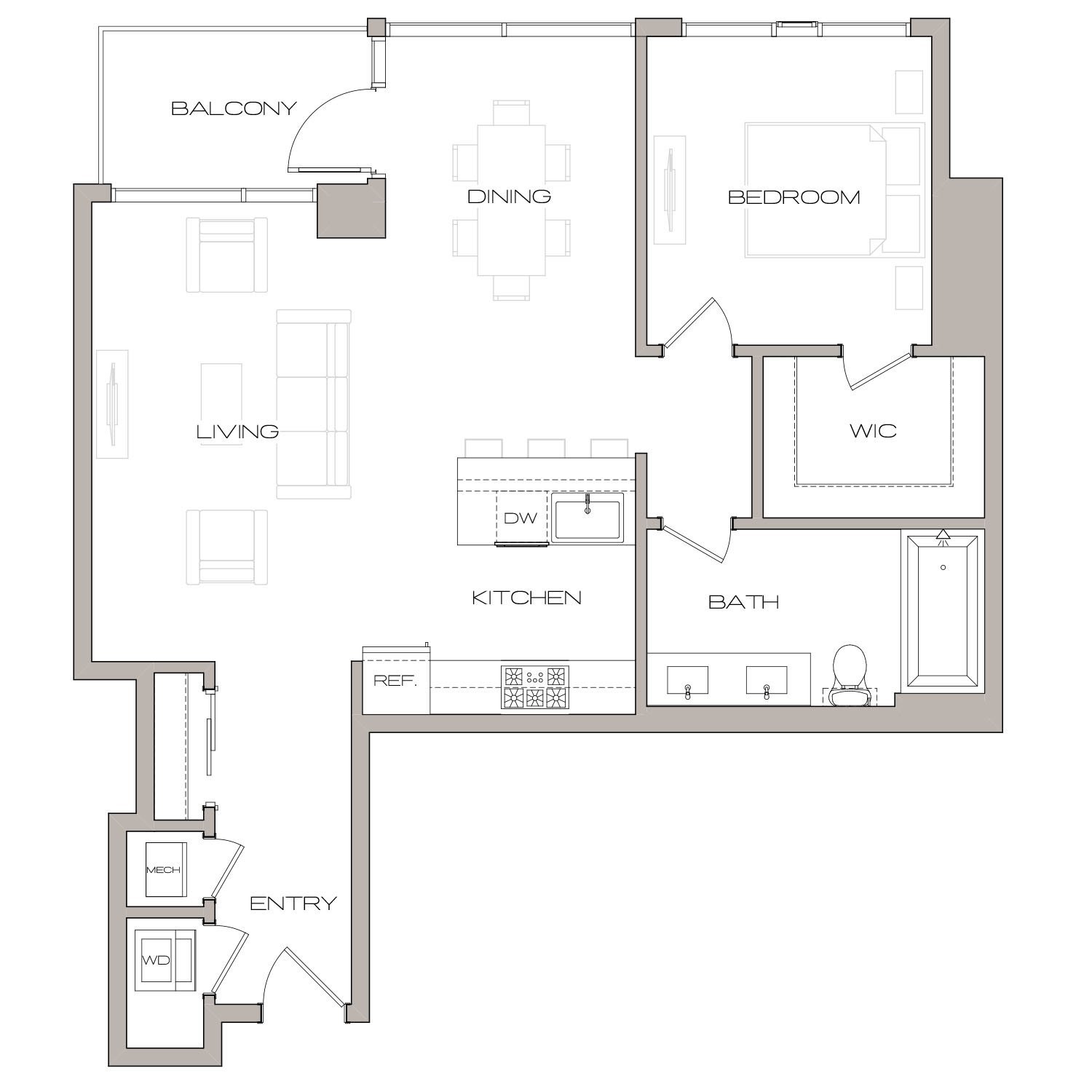 A 5 floor plan diagram. One bedroom, one bathroom, an open kitchen, living, and dining area, a balcony, and a washer dryer.
