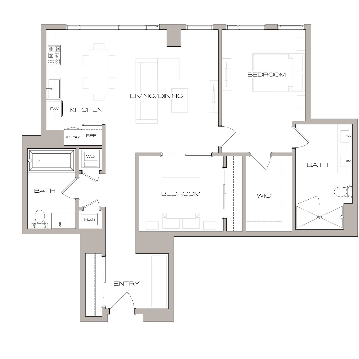 B 1 floor plan diagram. Two bedrooms, two bathrooms, an open kitchen and living area, and a washer dryer.