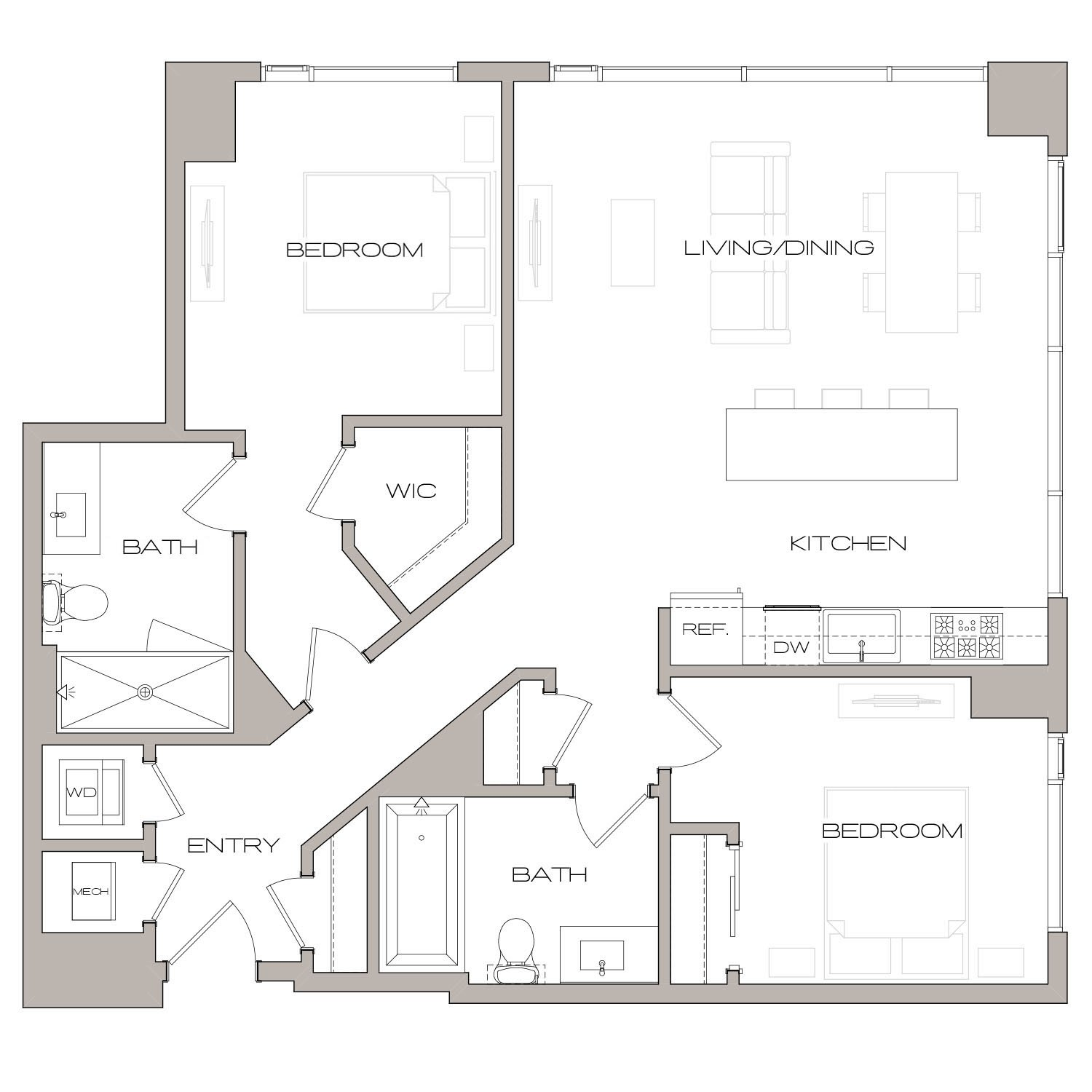 B 2 floor plan diagram. Two bedrooms, two bathrooms, an open kitchen and living area, and a washer dryer.