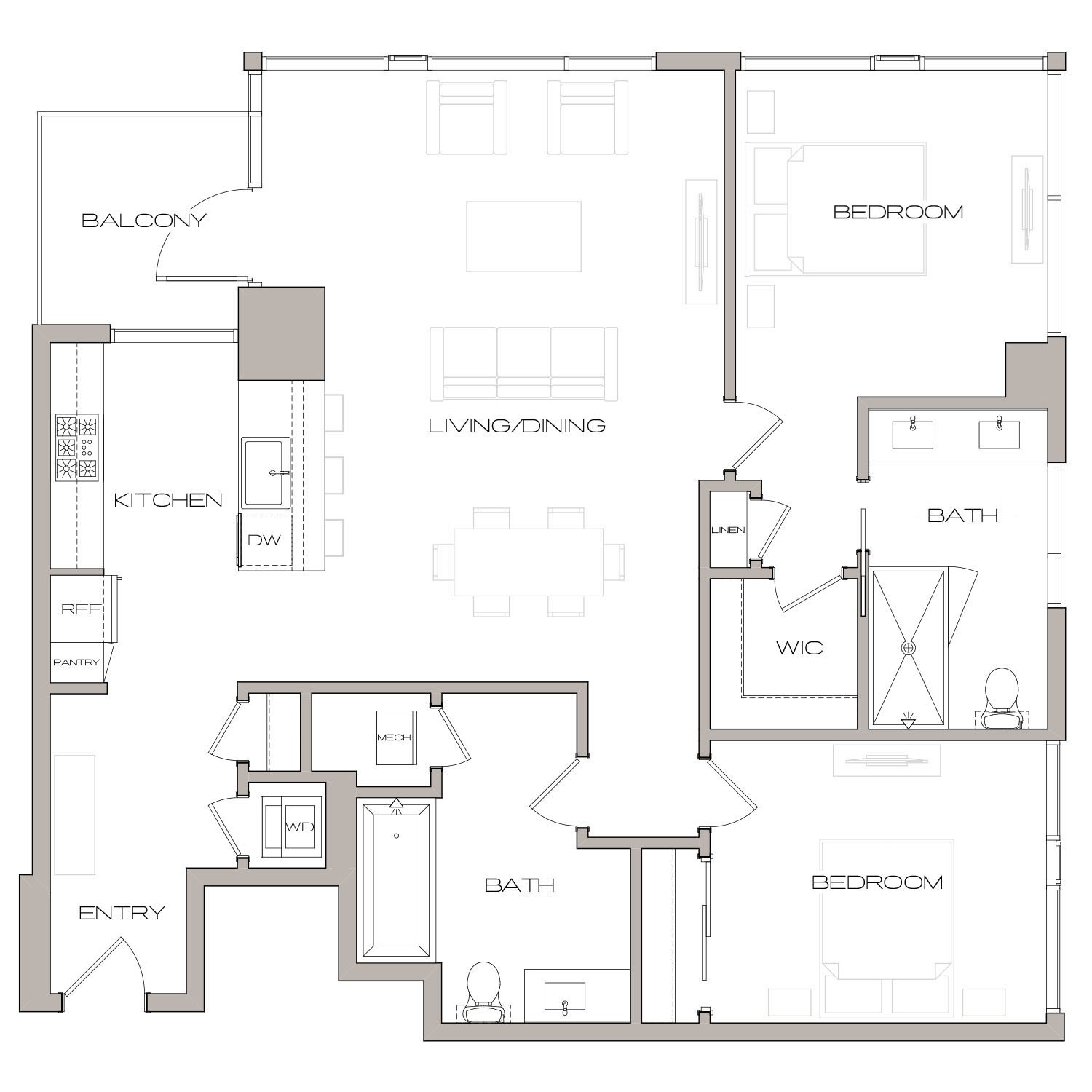B 3 floor plan diagram. Two bedrooms, two bathrooms, an open kitchen and living area, a balcony, and a washer dryer.