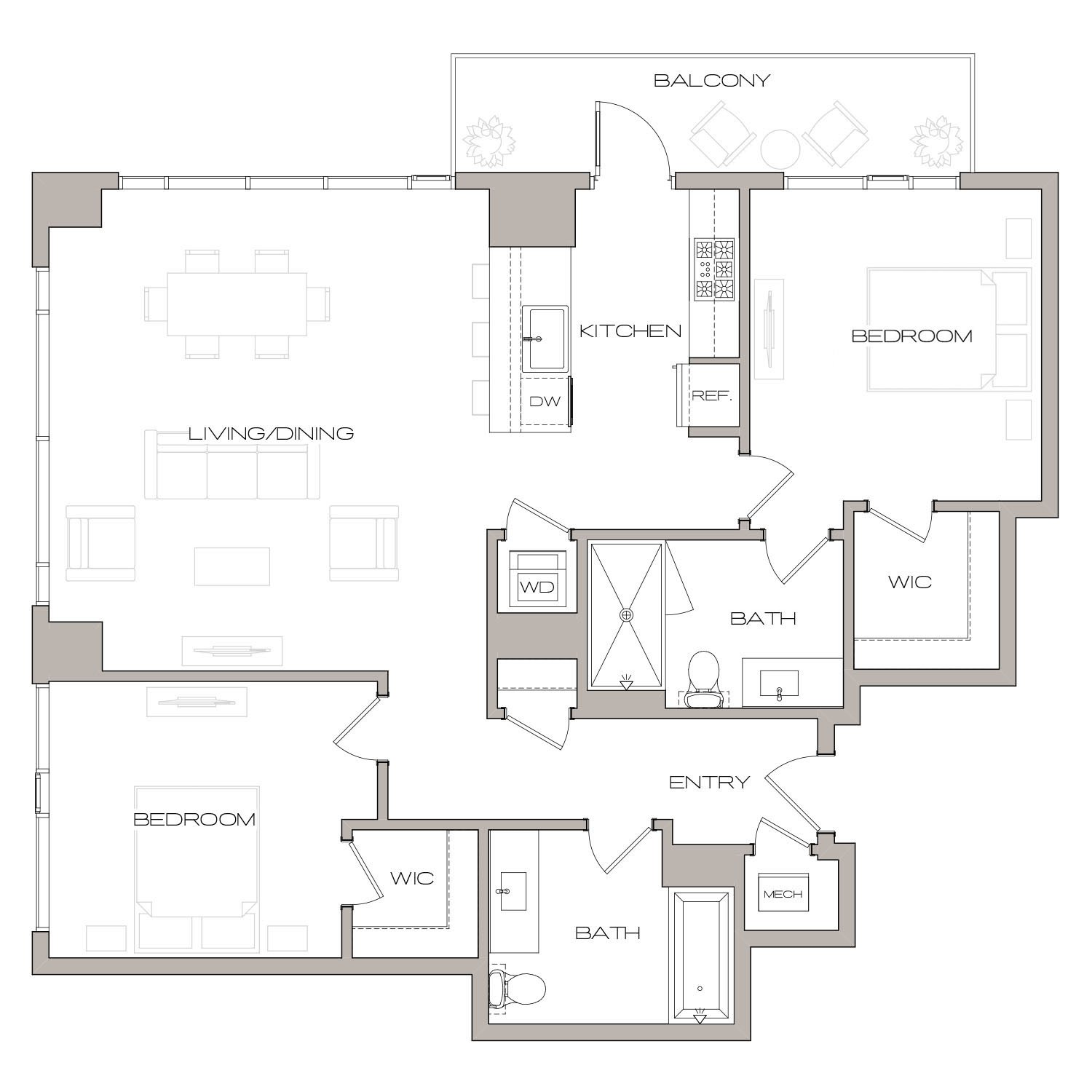 B 4 floor plan diagram. Two bedrooms, two bathrooms, an open kitchen and living area, a terrace, and a washer dryer.