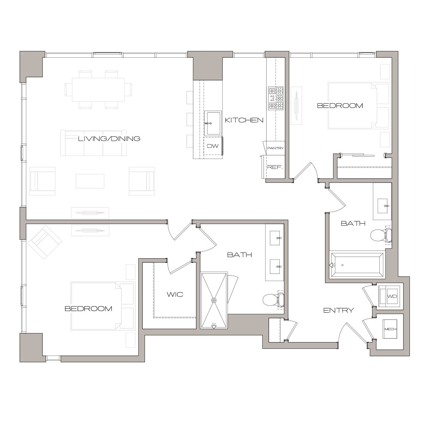 B 5 floor plan diagram. Two bedrooms, two bathrooms, an open kitchen and living area, and a washer dryer.