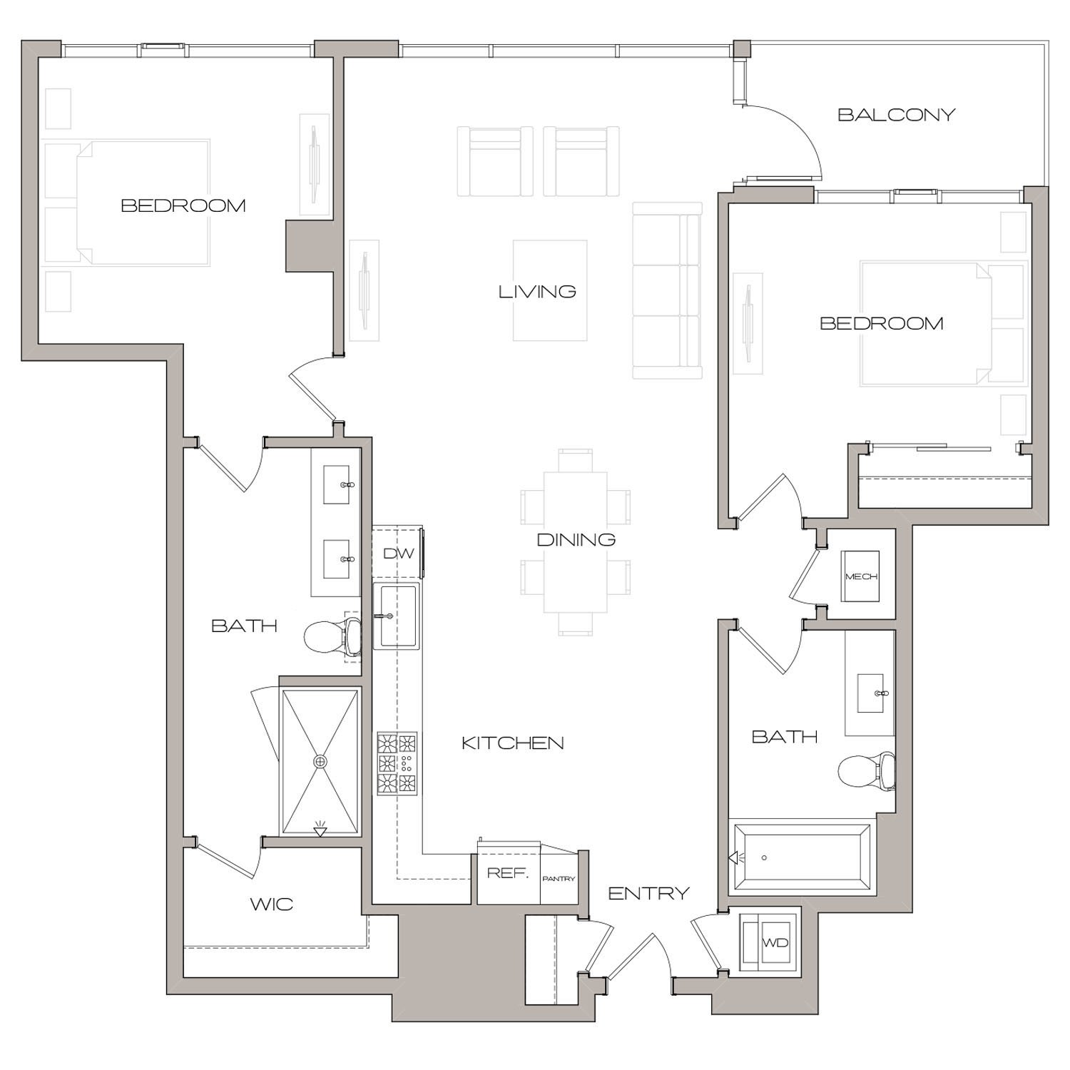 B 6 floor plan diagram. Two bedrooms, two bathrooms, an open kitchen and living area, a balcony, and a washer dryer.