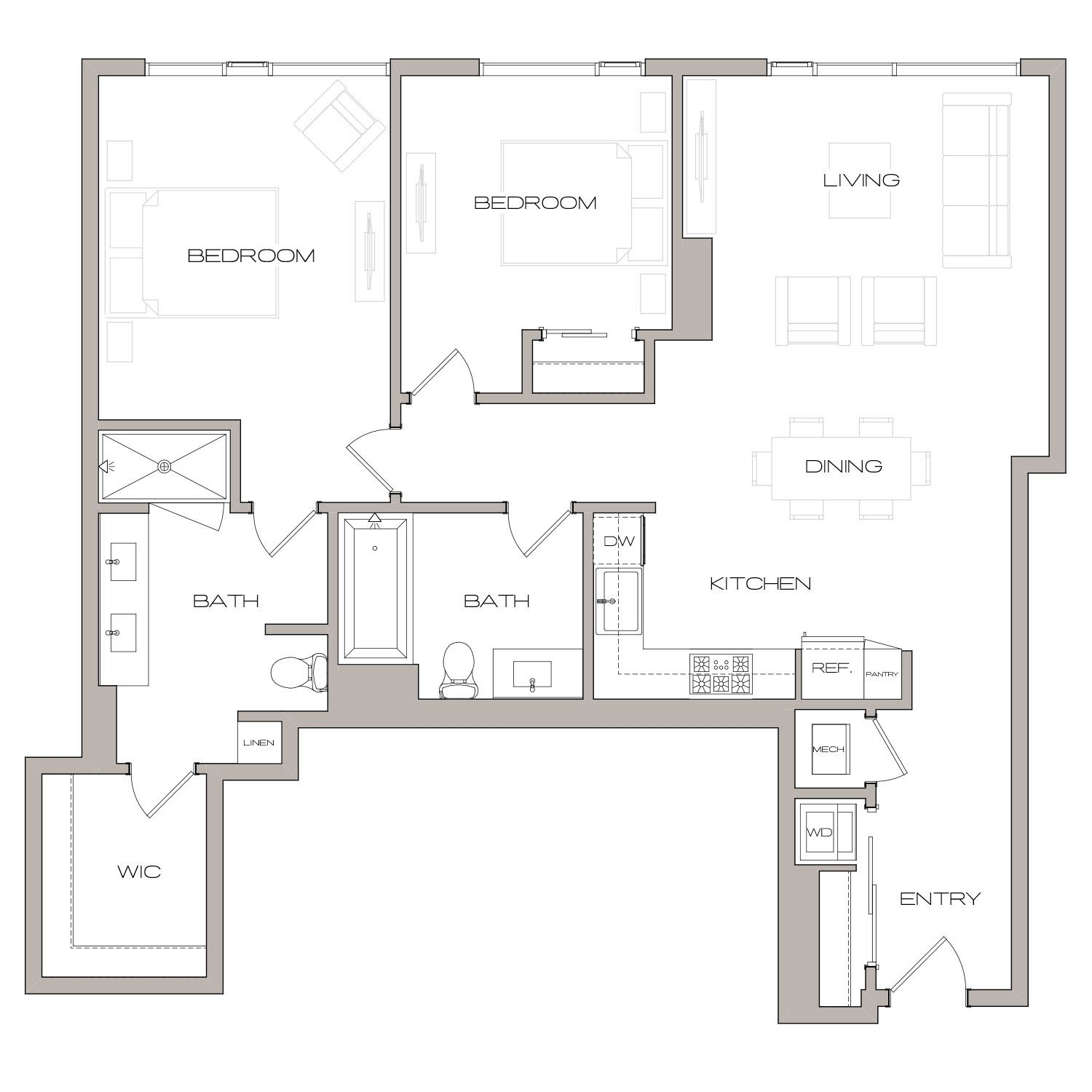 B 7 floor plan diagram. Two bedrooms, two bathrooms, an open kitchen and living area, and a washer dryer.