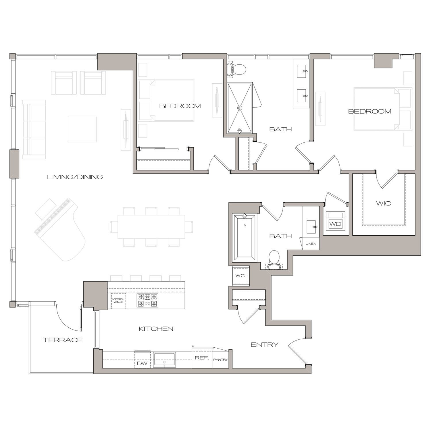 P H 1 floor plan diagram. Penthouse apartment with two bedrooms, two bathrooms, an open kitchen living and dining area,  a terrace, and a washer dryer.