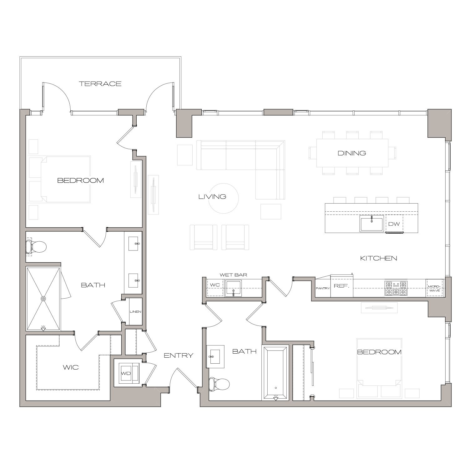 P H 2 floor plan diagram. Penthouse apartment with two bedrooms, two bathrooms, an open kitchen living and dining area, a wet bar, a terrace, and a washer dryer.