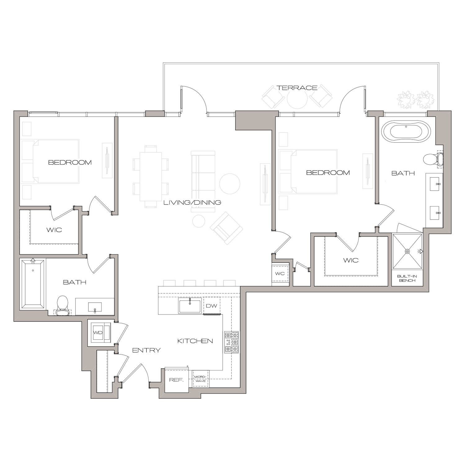 P H 3 floor plan diagram. Penthouse apartment with two bedrooms, two bathrooms, an open kitchen living and dining area, a terrace, and a washer dryer.