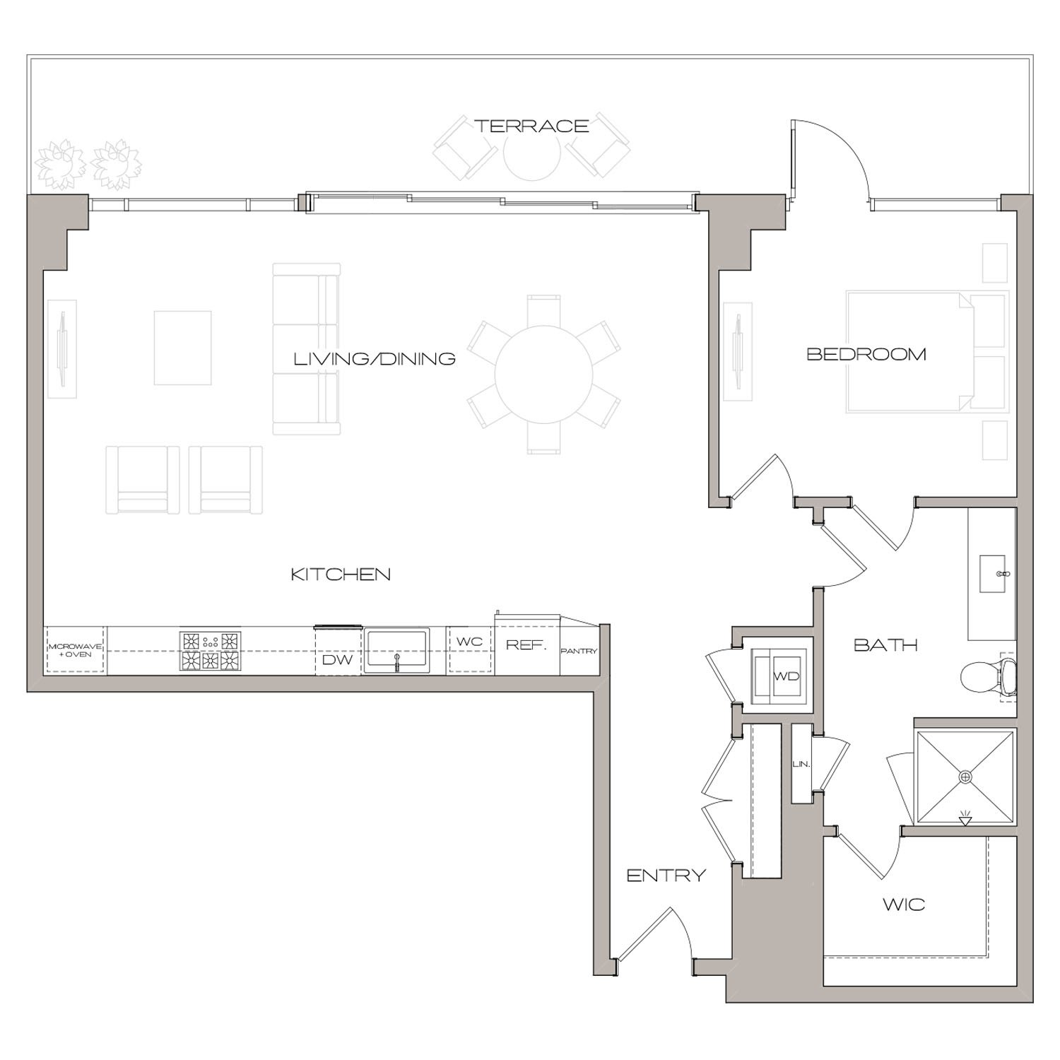P H 4 floor plan diagram. Penthouse apartment with one bedroom, one bathroom, an open kitchen living and dining area, a terrace, and a washer dryer.