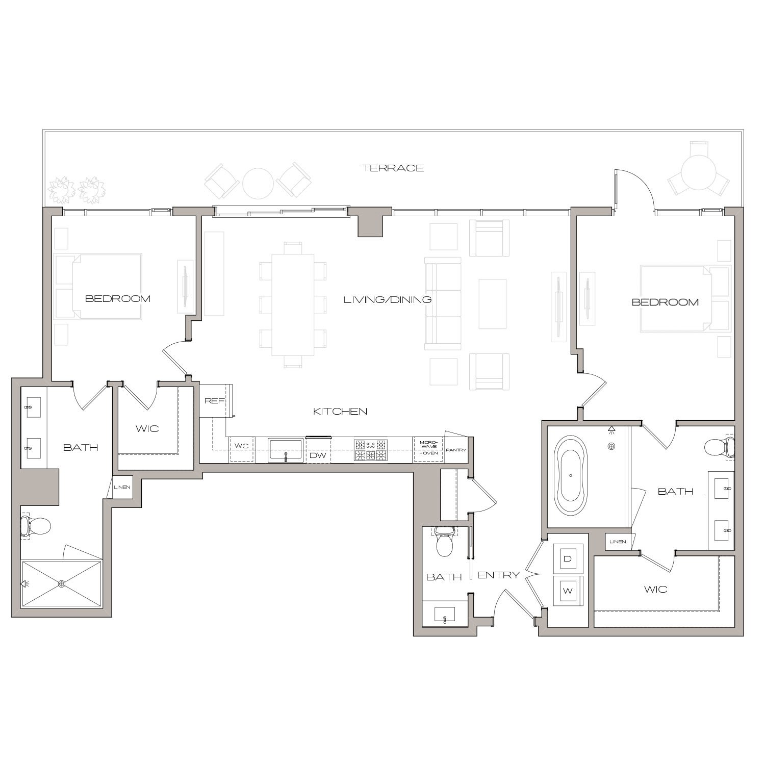 P H 5 floor plan diagram. Penthouse apartment with two bedrooms, two and a half bathrooms, an open kitchen living and dining area, a terrace, and a washer dryer.