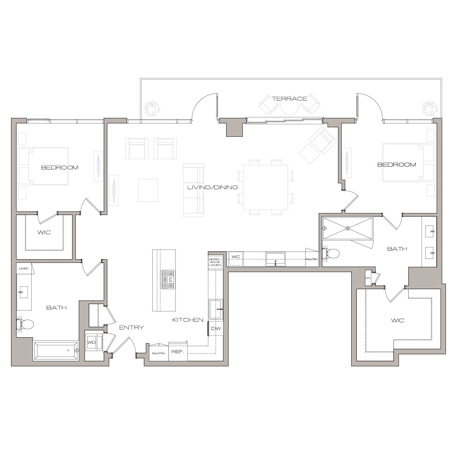 P H 6 floor plan diagram. Penthouse apartment with two bedrooms, two bathrooms, an open kitchen living and dining area, a wet bar, a terrace, and a washer dryer.