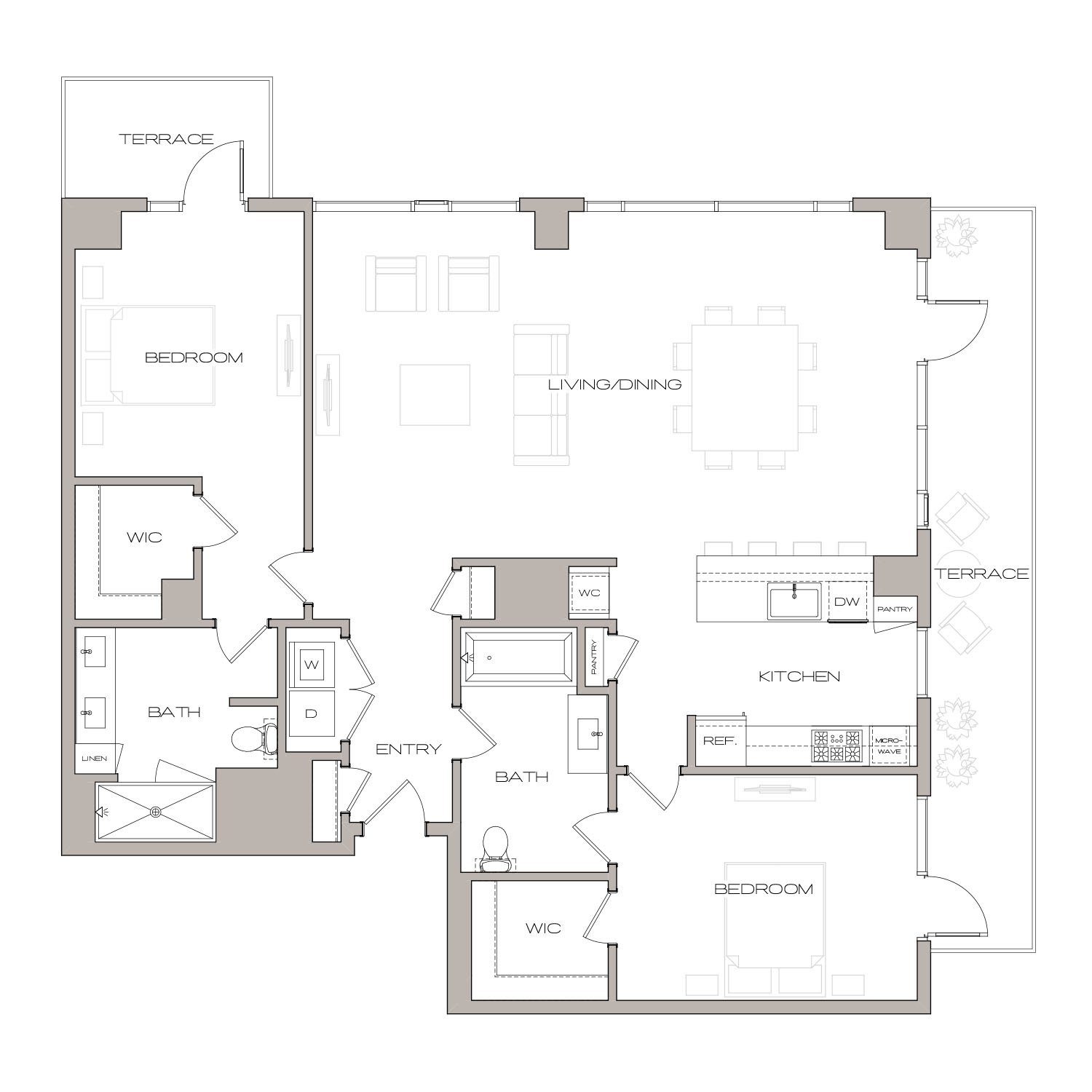 P H 7 floor plan diagram. Penthouse apartment with two bedrooms, two bathrooms, an open kitchen living and dining area, a terrace, and a washer dryer.