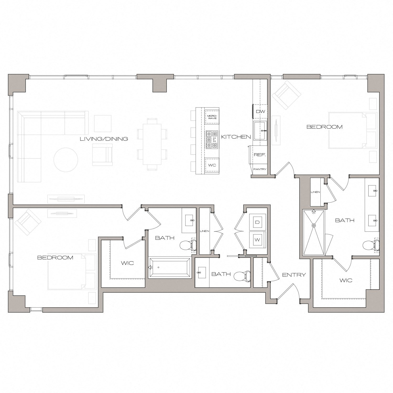 P H 8 floor plan diagram. Penthouse apartment with two bedrooms, two and a half bathrooms, an open kitchen living and dining area, and a washer dryer.