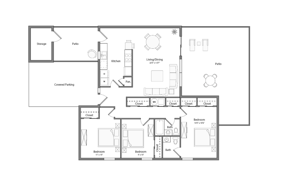 Laurel Renovated house floor plan diagram. Three bedrooms, one and a half bathrooms, a kitchen and adjacent laundry, an open living and dining area, two patios, and a covered parking area.