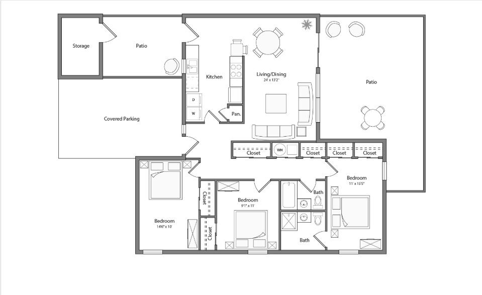 Magnolia Renovated house floor plan diagram. Three bedrooms, two bathrooms, a kitchen, an open living and dining area, a laundry closet, two patios, and a covered parking area.