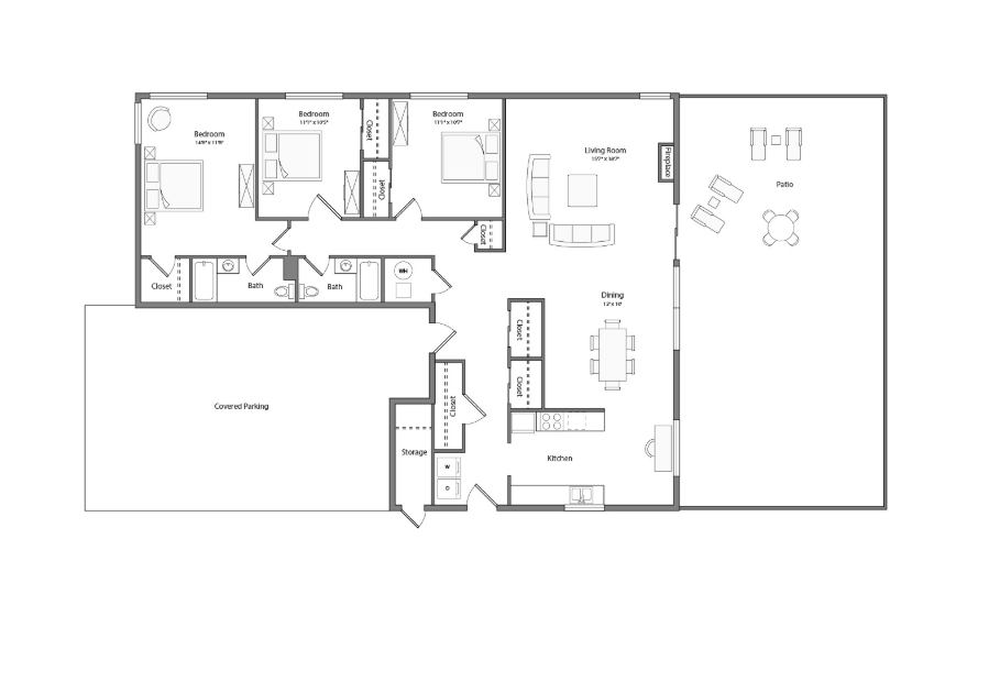 Sycamore Renovated house floor plan diagram. Three bedrooms, two bathrooms, a kitchen, an open living and dining area with doors to a large patio, a laundry nook, and a covered parking area.
